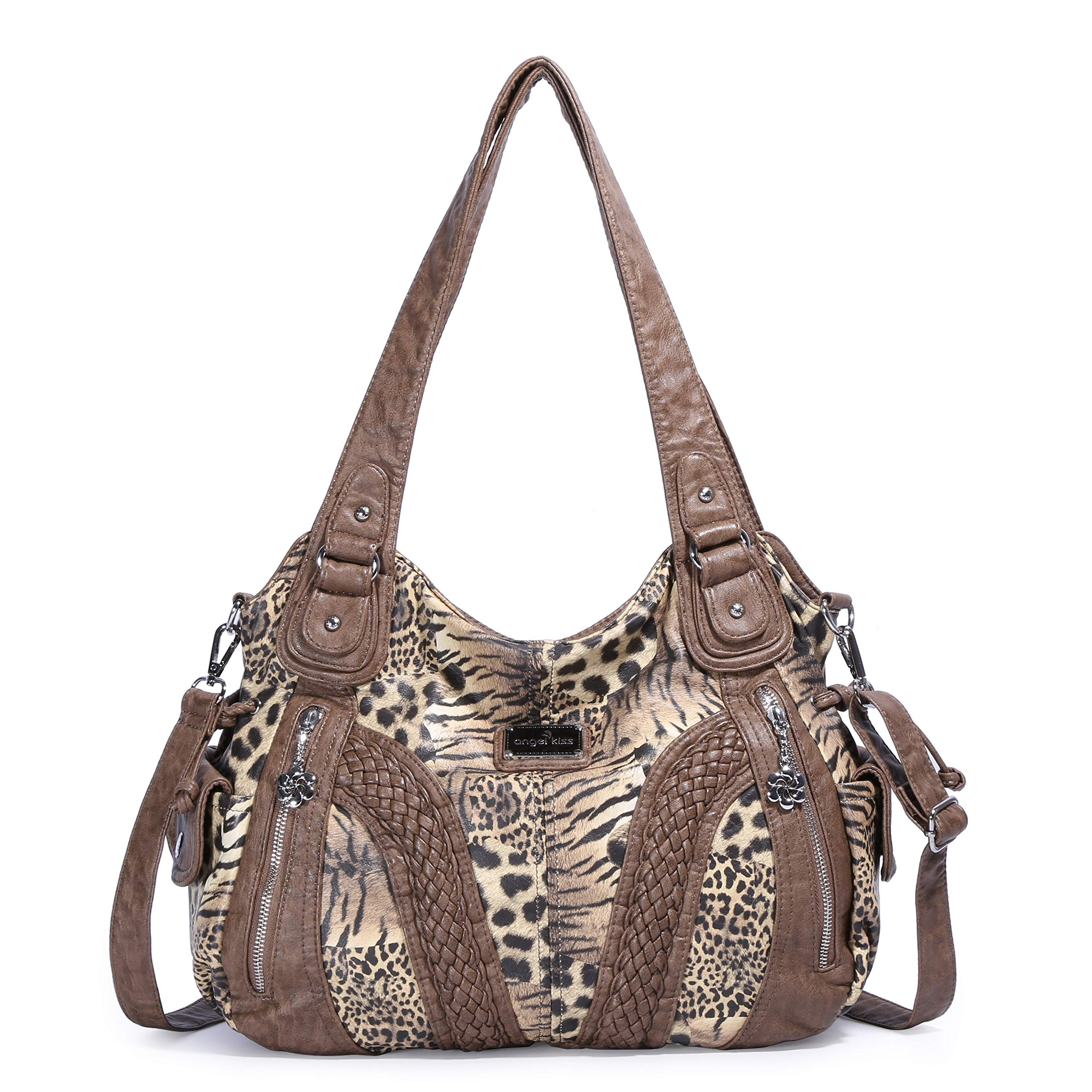 Angelkiss Women Top Handle Satchel Handbags Shoulder Bag Messenger Tote Washed Leather Purses Bag ... (Brown-Leopard) by Angel Kiss