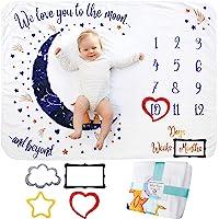 Baby Milstolpe Filt | Fotomatta Nyfödd Pojke eller Flicka, Unisex | Baby Shower Gåva | Måne & Stjärntema | Mjuk & Tjock…
