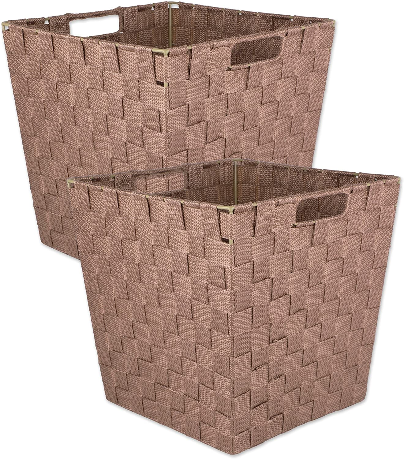 DII Durable Trapezoid Woven Nylon Storage Bin or Basket for Organizing Your Home Teal-Set of 2 Basket-12x10x8 Office or Closets