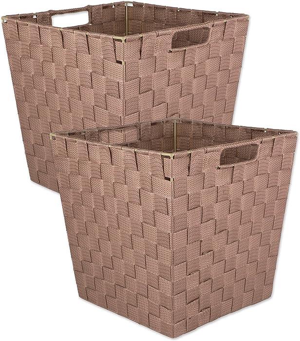 DII Woven Nylon Trapezoid Storage Bin, 13x13x13, Large, Brown, 2 Piece
