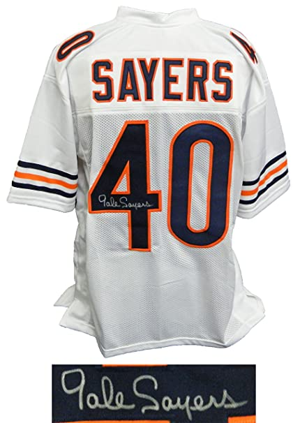 60eb6c7e84b Gale Sayers Signed White Custom Football Jersey at Amazon s Sports  Collectibles Store