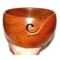 BHARTIYA HANDICRAFTS Holzschale für Strickgarn, Tragbar, mit Fadenschlitz