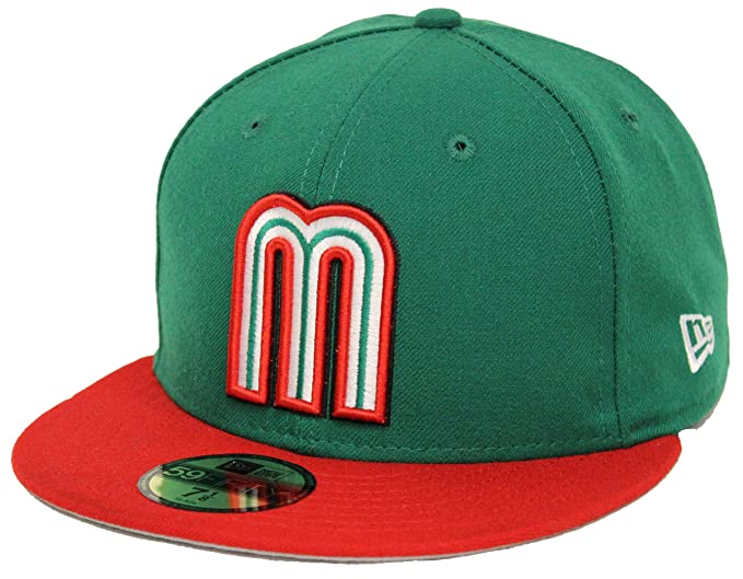 869a60b7747 New Era 59Fifty WBC Mexico Green Red Fitted Cap (7 1 2) at Amazon ...