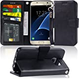 Arae Case Compatible for Samsung Galaxy s7, [Wrist Strap] Flip Folio [Kickstand Feature] PU Leather Wallet case with ID&Credi