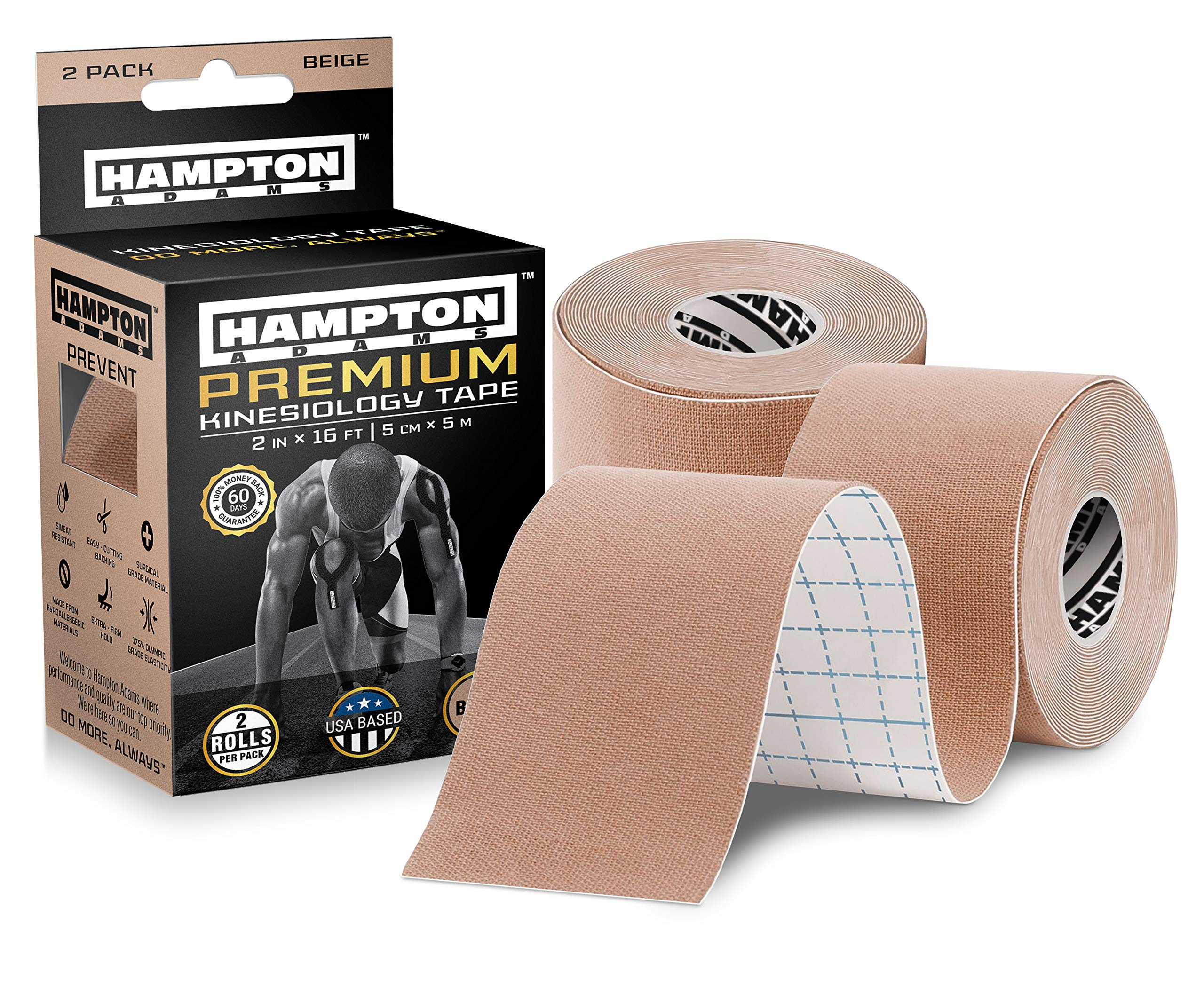 Premium Kinesiology Tape | Athletic Tape Supports & Protects Muscles, Knees, Shoulders & Plantar Fasciitis | Waterproof & Hypoallergenic | 2-Pack Beige Uncut Kinesio Tape