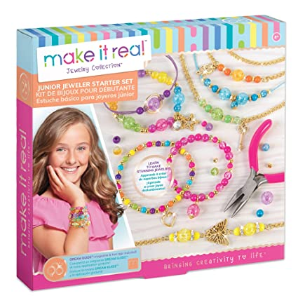 Make It Real - Junior Jeweler Starter Set. DIY Tween Girls Jewelry Making Kit. Arts and Crafts Kit Guides Kids to Design and Create Beautiful ...