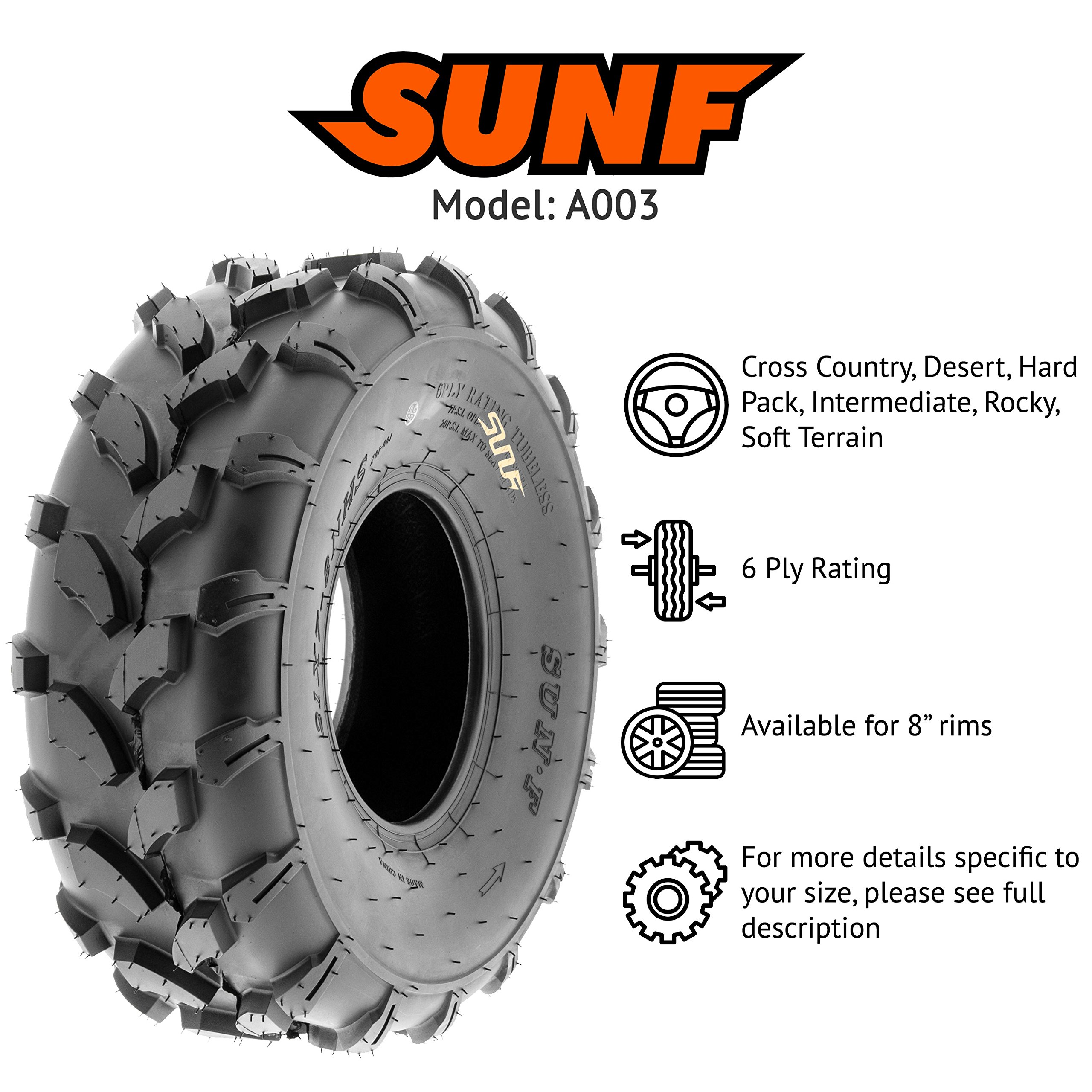 SunF 19x7-8 19x7x8 ATV UTV All Terrain Trail Replacement 6 PR Tubeless Tires A003, [Set of 2] by SUNF (Image #2)