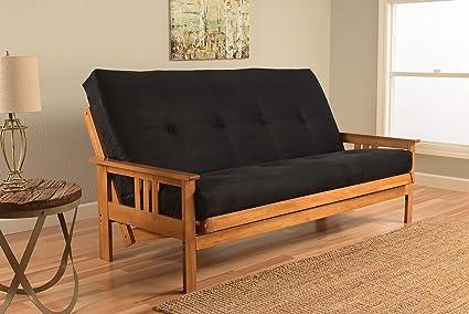 monterey full size futon sofa bed butternut wood frame suede innerspring mattress black - Wood Frame Sofa
