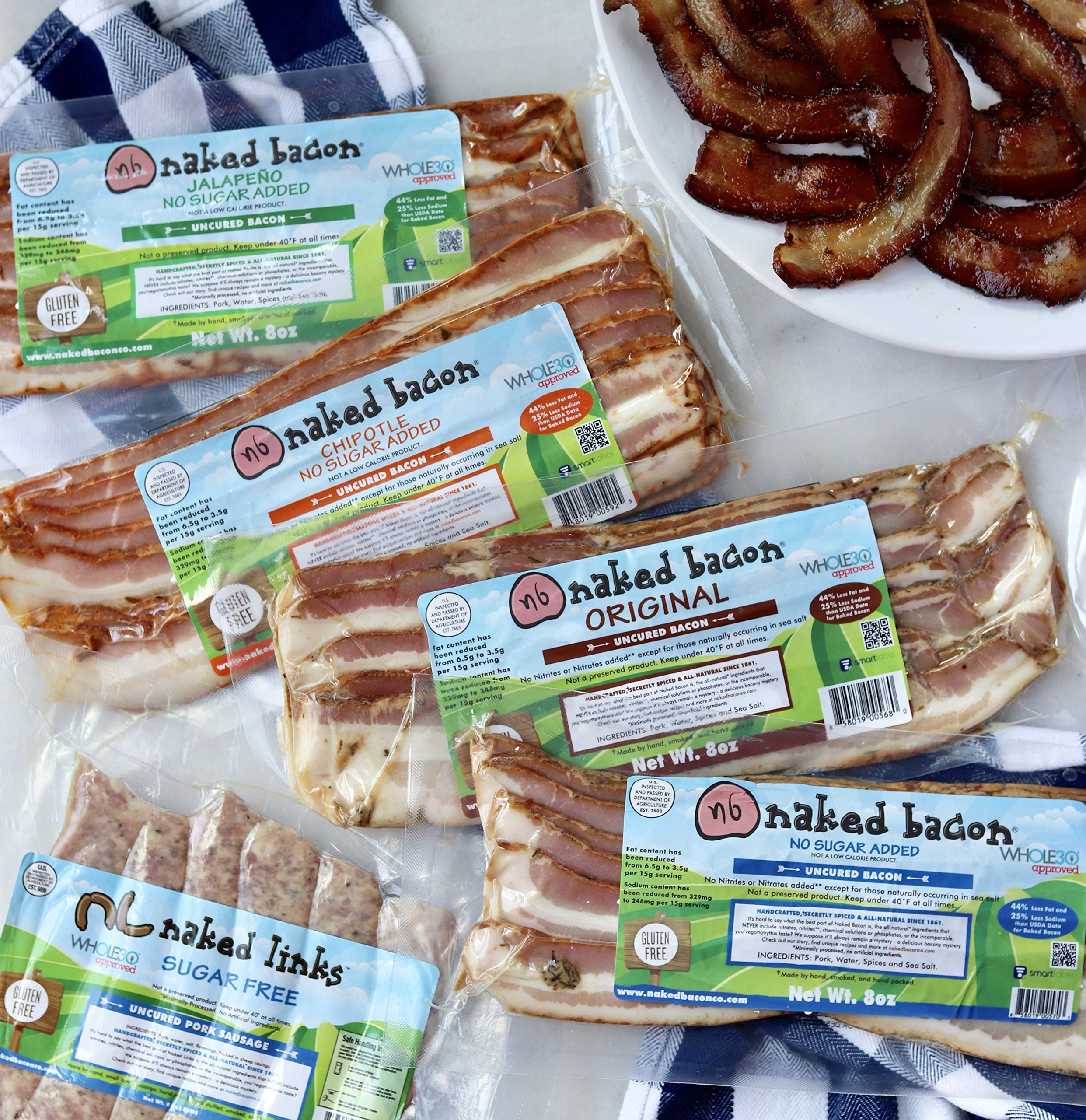 No Sugar Added Whole30 Approved Bacon - Multipack (5 Packages) by NB Naked Bacon (Image #2)