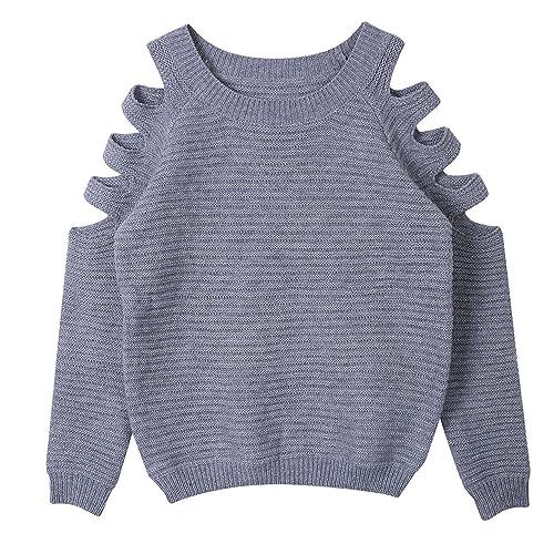 Minetom Mujer Primavera Otoño Corto De Punto Suéter Cuello Redondo Tapas Hueco Manga Larga Blusa