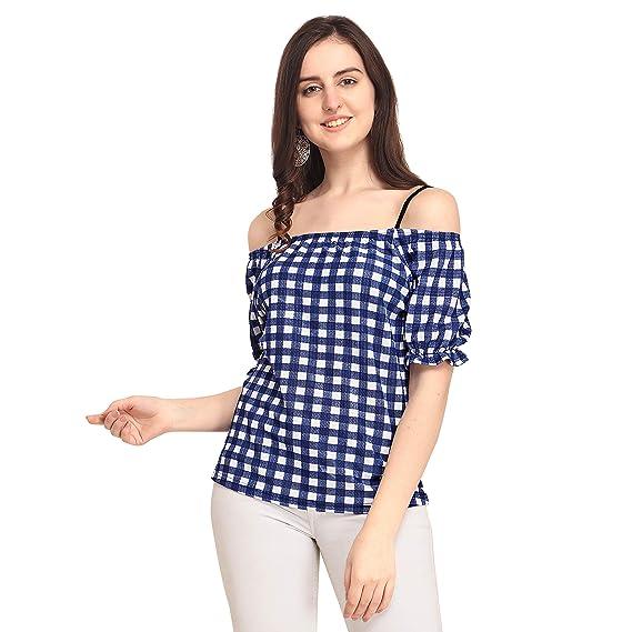 dd9b3af6d039b5 CHAKUDEE Women s Checkered Regular fit (1-top-Off-Solder-Blue-