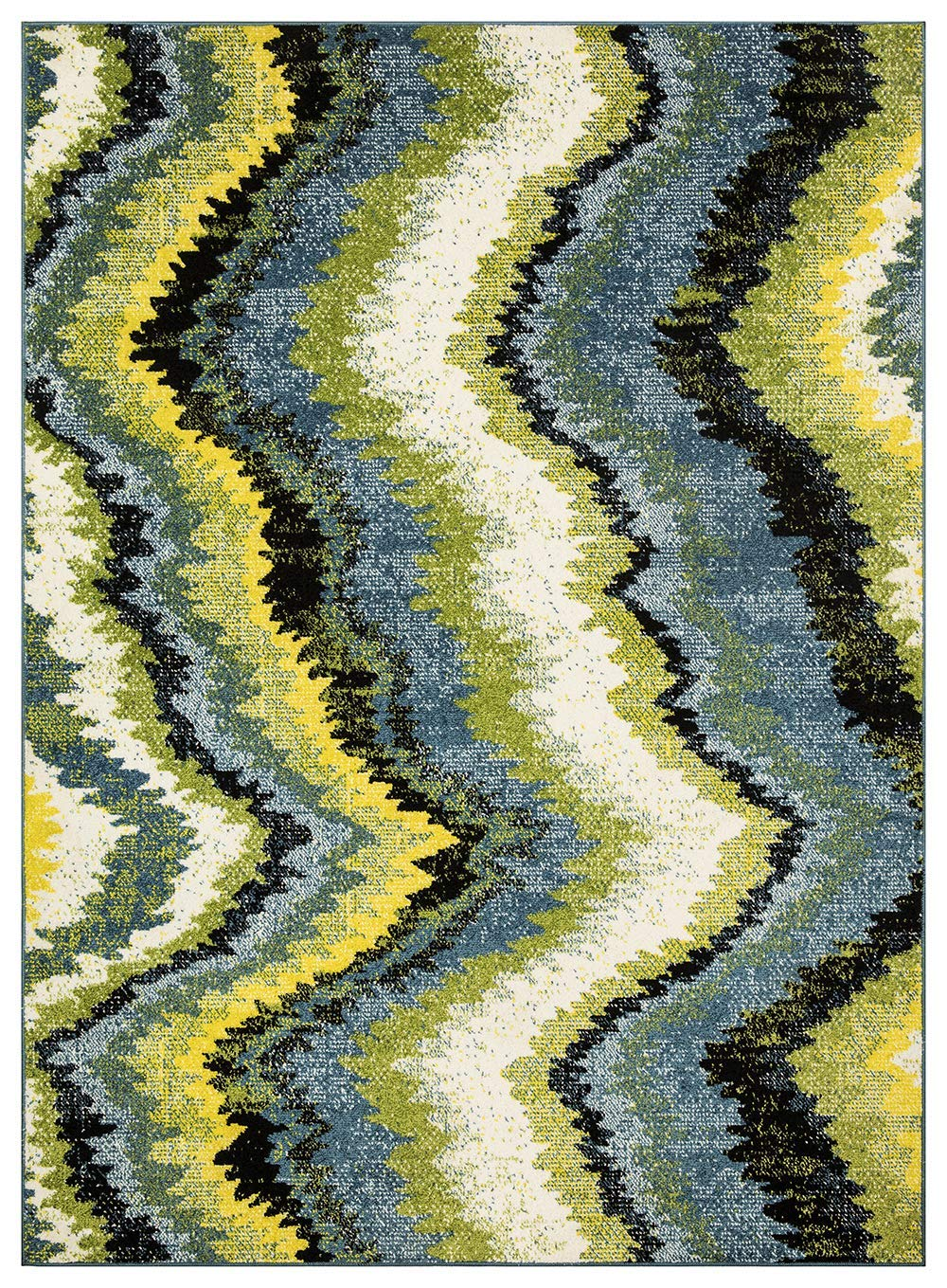 Queen Collection Multi Color Modern Abstract Area Rug, 3 3 x 4 7 , 2807-Multi