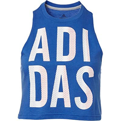 adidas Women's Americana Crop Tank Top (Hi Res Blue, X-Large): Sports & Outdoors