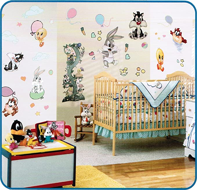 Amazon.com: Baby Looney Tunes Balloon Fun Jumbo Wall Sticker: Home ...