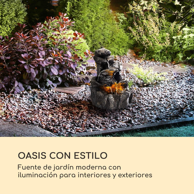 blumfeldt Rocky Waters Fuente de jardín - Iluminación LED, para Dentro y Fuera de casa, 2, 5 W, Polirresina, Resistente a Las heladas y a los Rayos UVA, Loopflow, Cable de 10