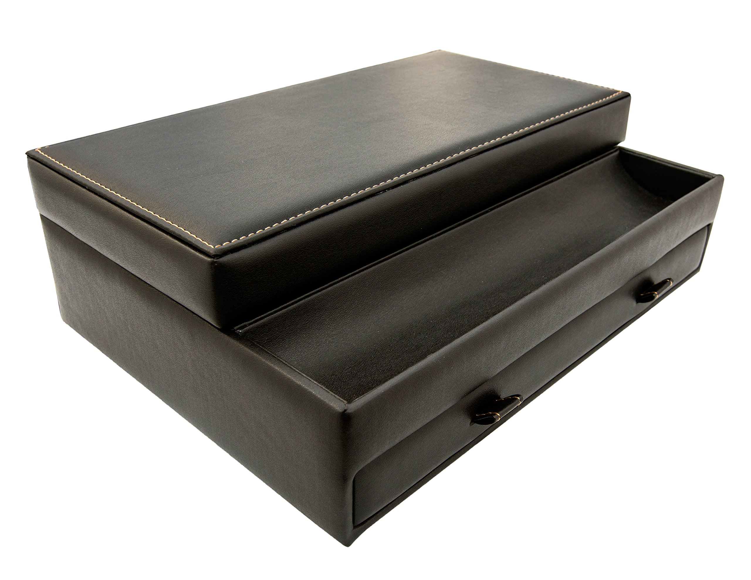 Men Jewelry Box Catch All Valet Tray Black Leather Charging Station