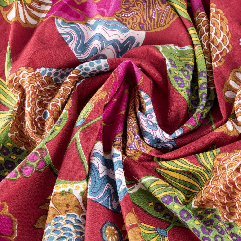 100/% indische leichte Baumwolle Einheitsgr/ö/ße: UK 10-18 // EU 38-46 aus biologischem Anbau handbedruckt India rose 100/% Baumwolle Badem/äntel f/ür Frauen//M/änner aus biologischem Anbau