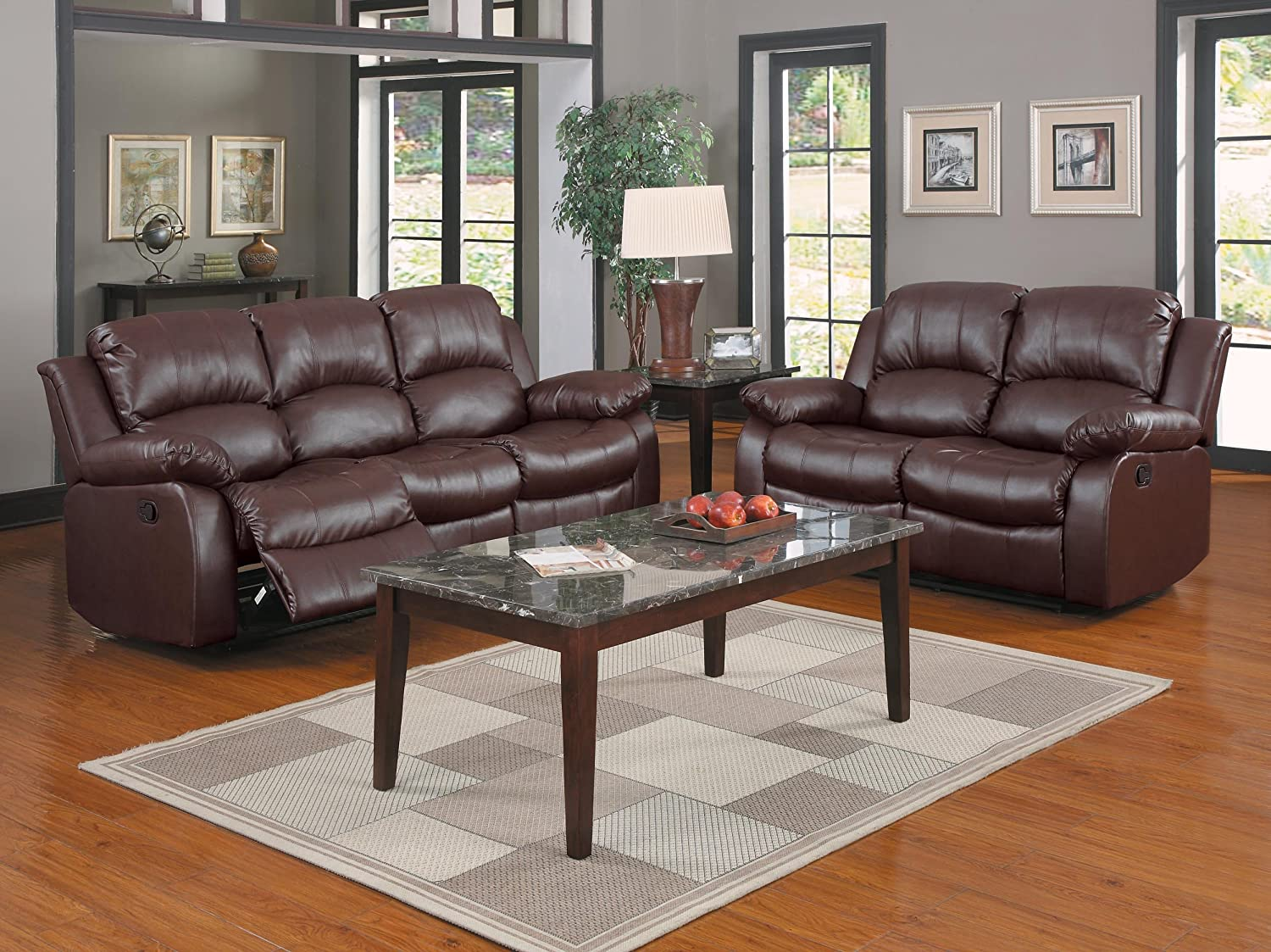 Two Loveseats In Living Room Amazoncom Homelegance Double Reclining Loveseat Brown Bonded