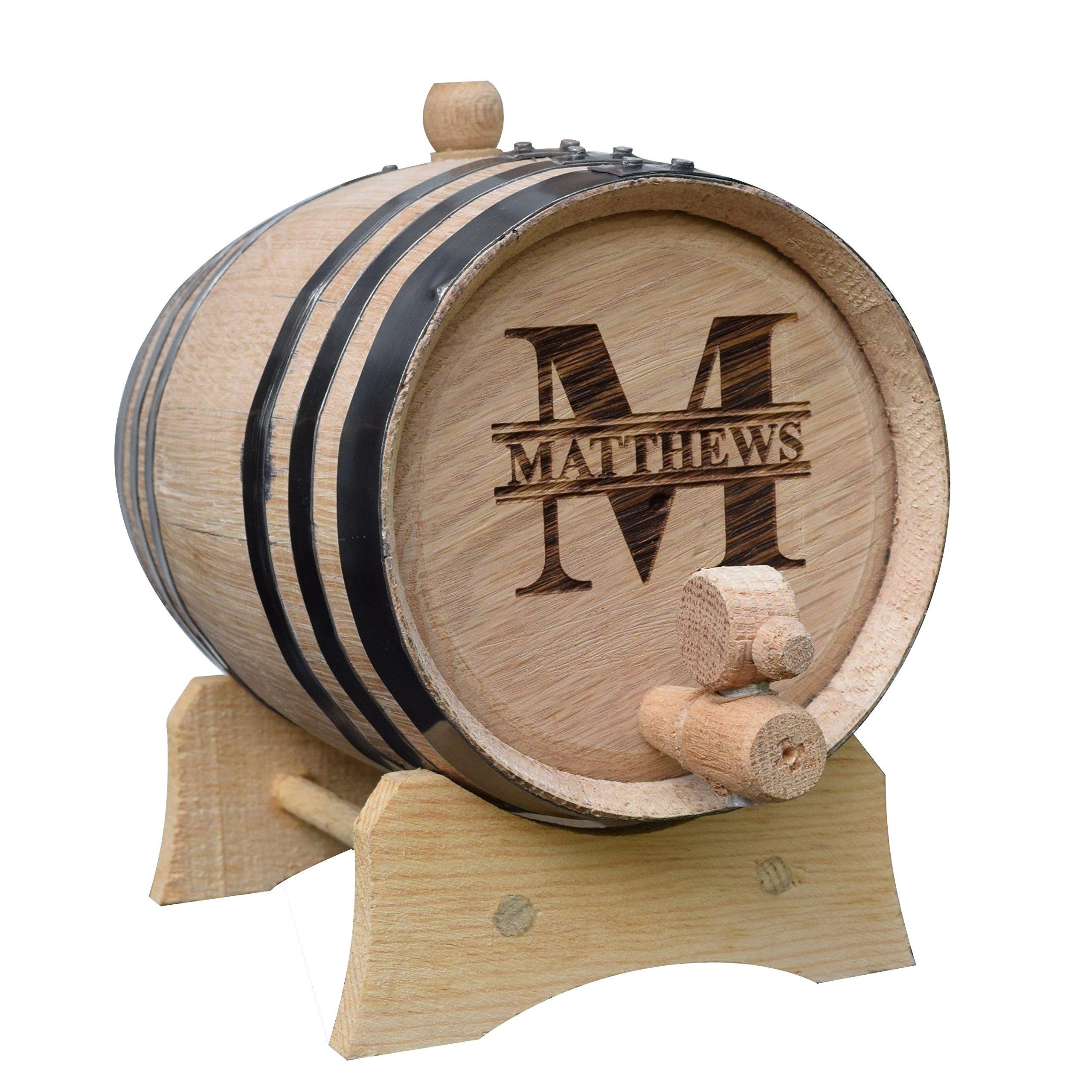 Custom Mini Whiskey Barrel - Personalized Wine Barrel - Engraved Oak 1 Liter Barrel