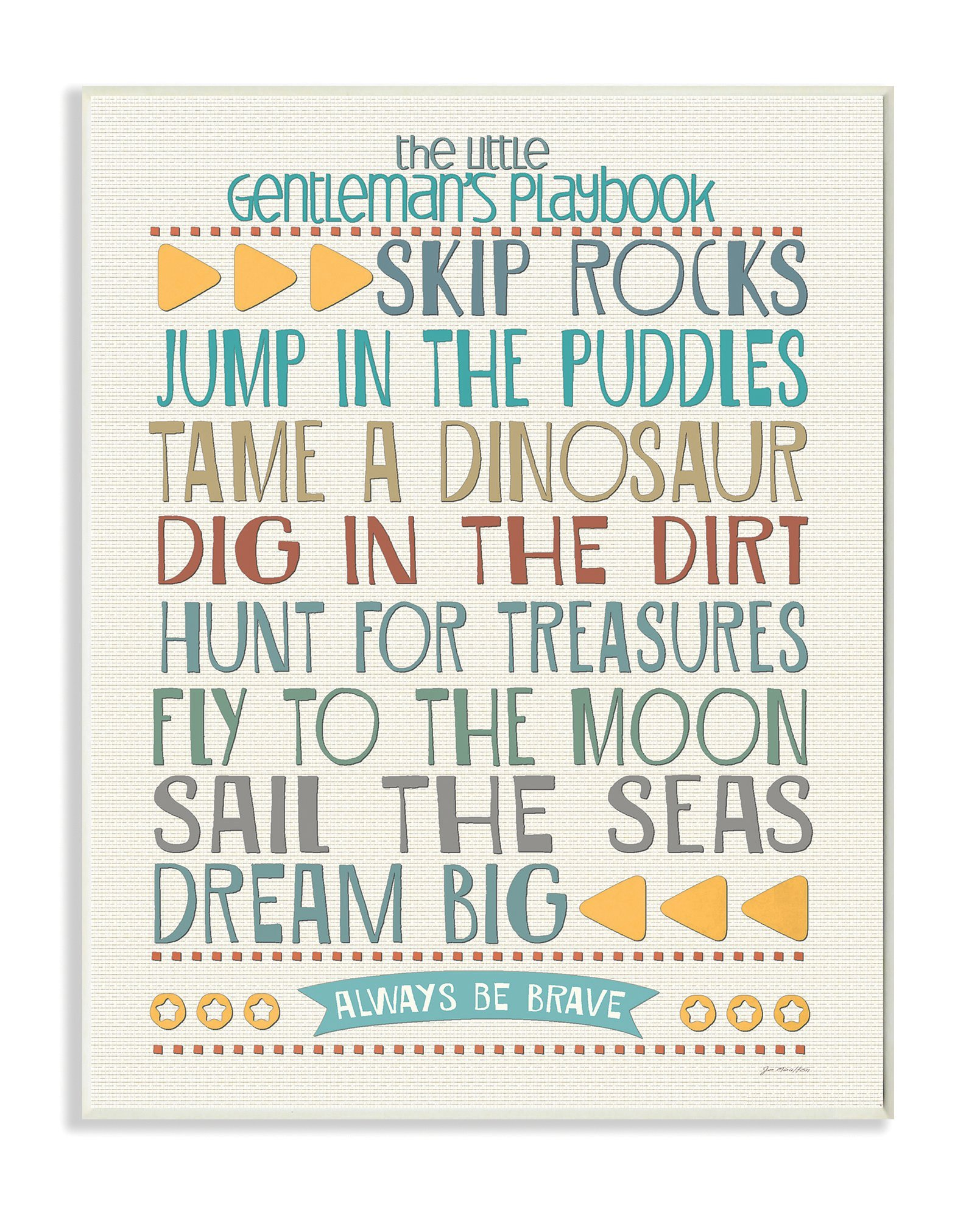 The Kids Room by Stupell Typography Art Wall Plaque, The Little Gentleman's Playbook, 11 x 0.5 x 15, Proudly Made in USA