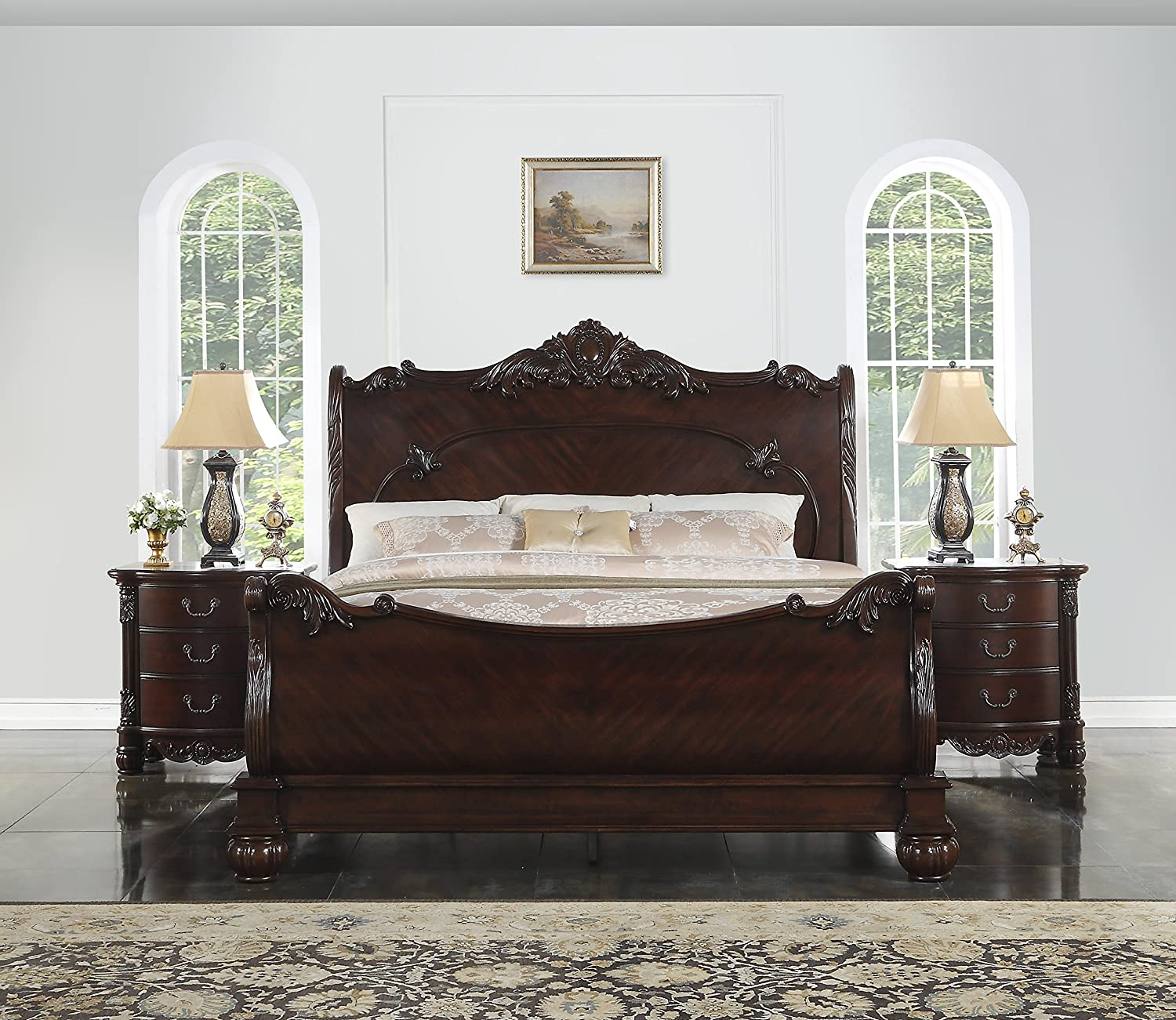 Amazon com roundhill furniture b030q saillans solid wood construction bed queen cherry kitchen dining