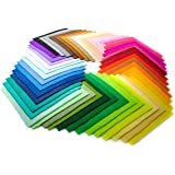 Bastex 50 Pieces Colored Craft Felt Fabric Sheets. 6 x 6 Inches with 1mm Thickness. Many Assorted Colors Pack for DIY Crafts. Stiff Sewing Material Squares for Patchwork.