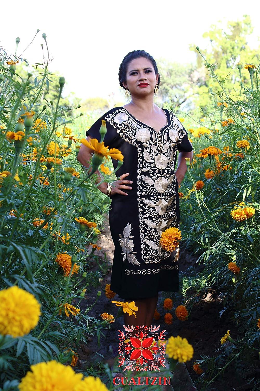 Amazoncom Vestido Artesanal Mexicano Bordado Corbata De Flores