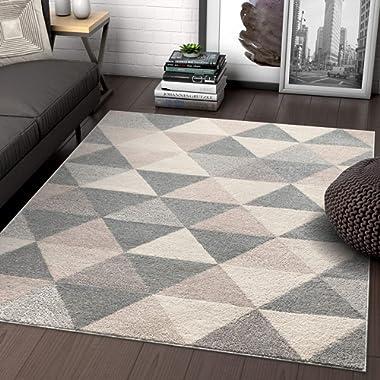 Well Woven Isometry Geometric Grey Triangle Area Rug 3x5 (3'11  x 5'3 )