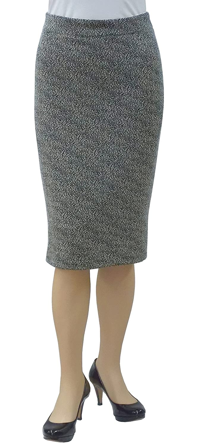 Baby'O Women's Two Tone Stretch Knit Tapered Pencil Skirt 8300