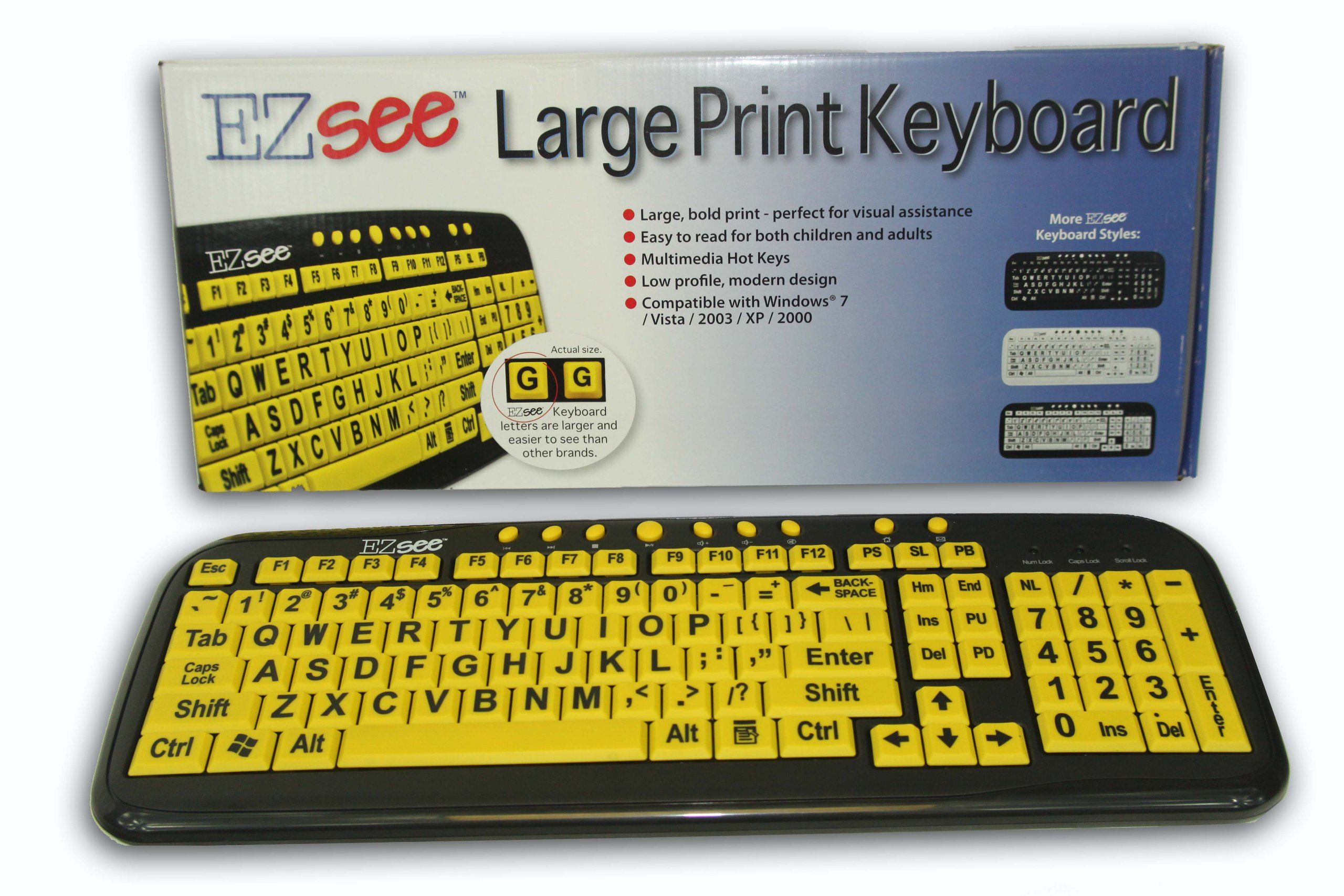 New and Improved: EZSee by DC - Large Print Computer Keyboard USB Wired (Yellow Keys with Black Jumbo Oversized Print Letters) for Visually Impaired Individuals, Low Vision, or Low Light for Seniors and People with Bad Vision! Imposing Vivid Black Over-si