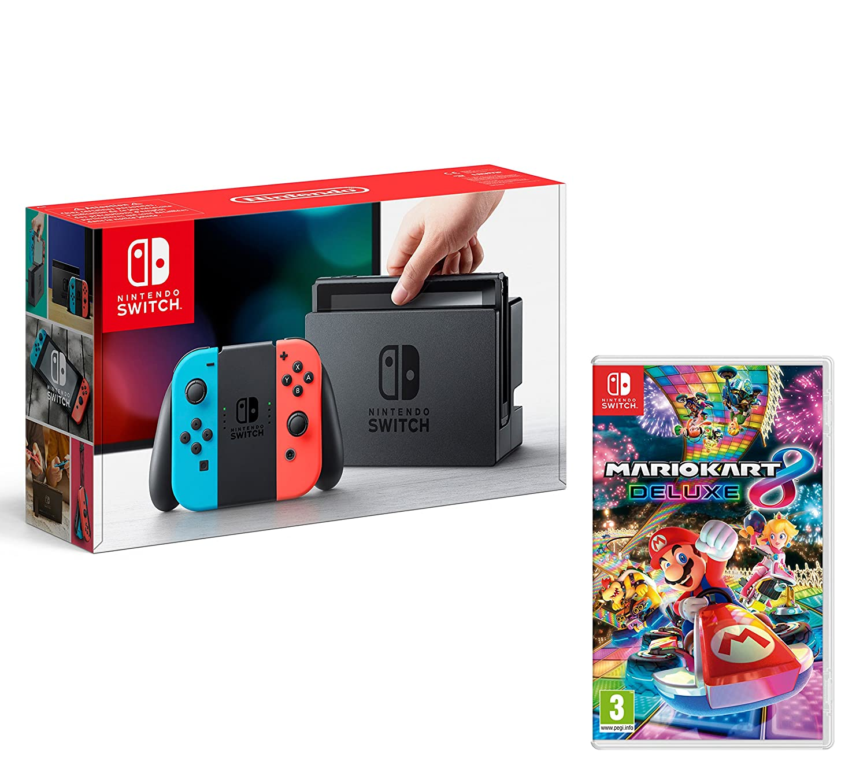Nintendo Switch Consola 32gb Azul Rojo Neon Mario Kart 8 Deluxe