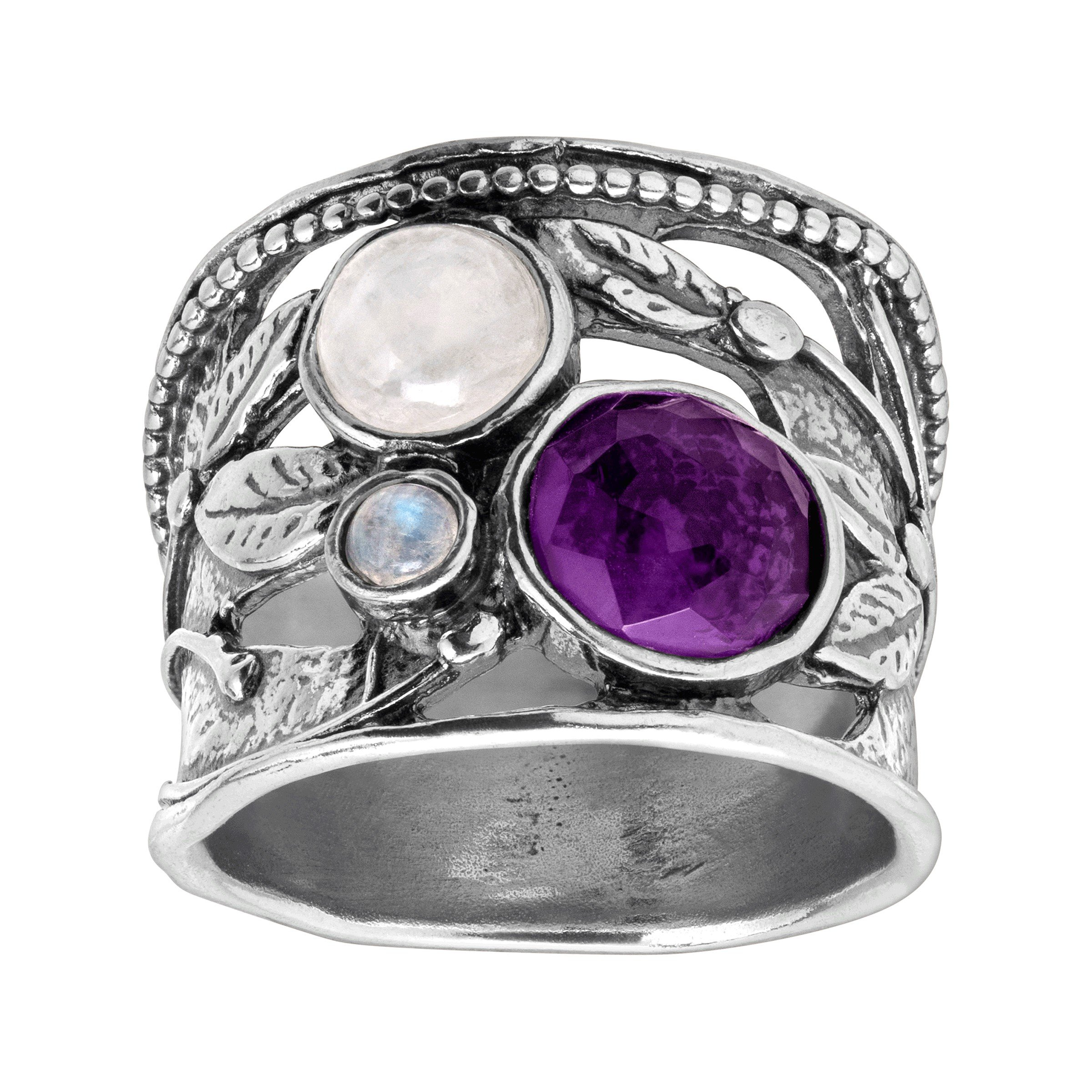 Silpada 'Heavenly' 3 ct Moonstone & Natural Amethyst Ring in Sterling Silver