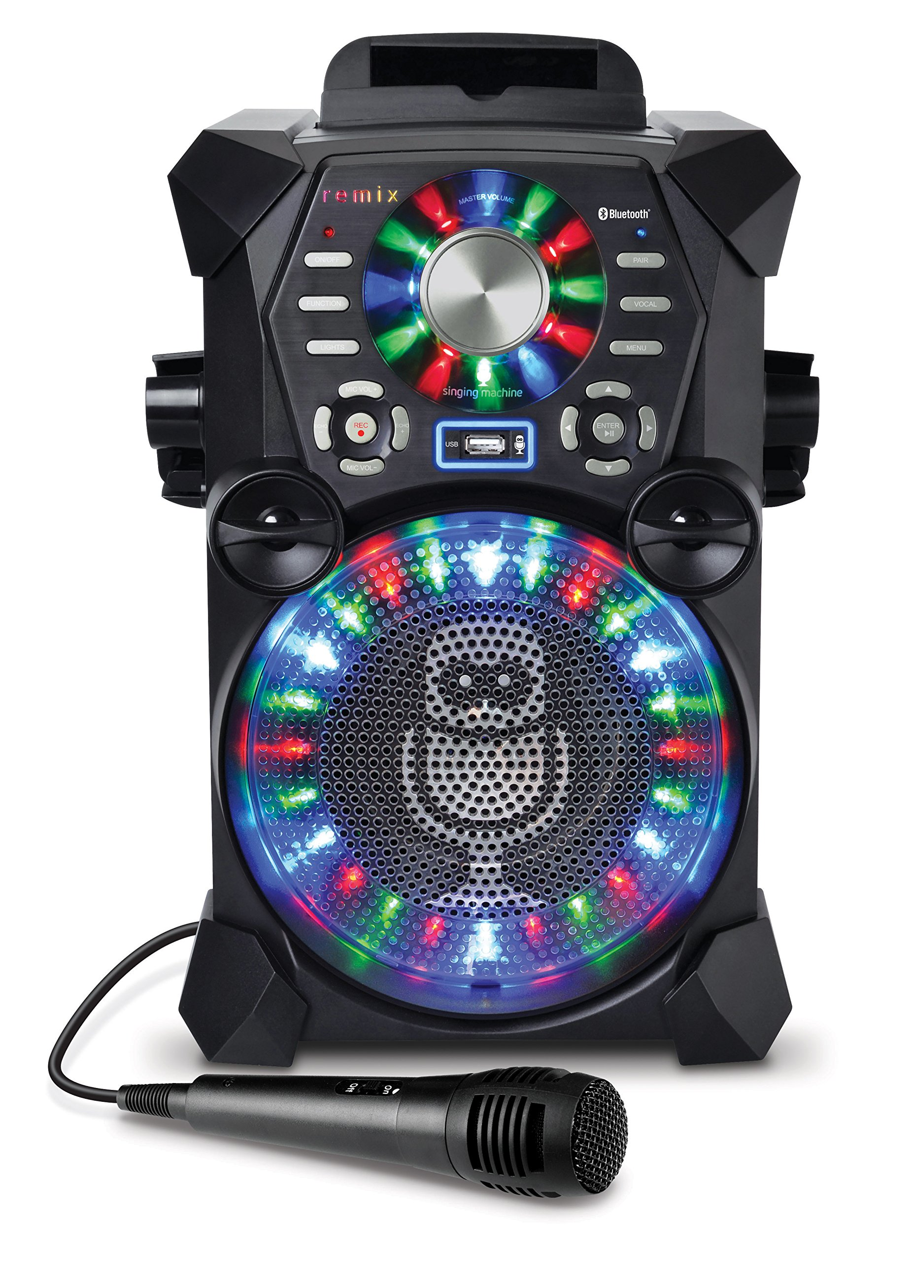 Singing Machine SDL485BK Remix Hi-Def Digital Karaoke System with Resting Tablet Cradle, Microphone, Black