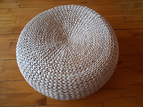 Handcrafted Eco-Friendly Knitted Straw Seat Natural Straw Futon Pouf Ottoman Diameter 60 cm