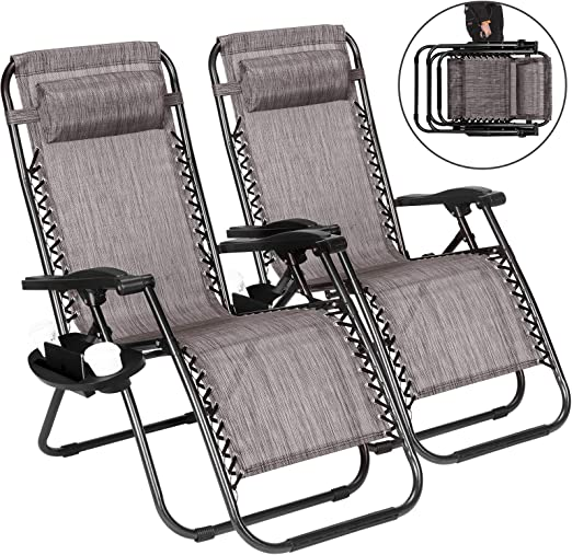 Silla plegable, dos sillas plegables de gravedad cero de gran valor, adecuadas para playa, terraza, jardín, camping, reclinable al aire libre, azul / gris / púrpura: Amazon.es: Hogar