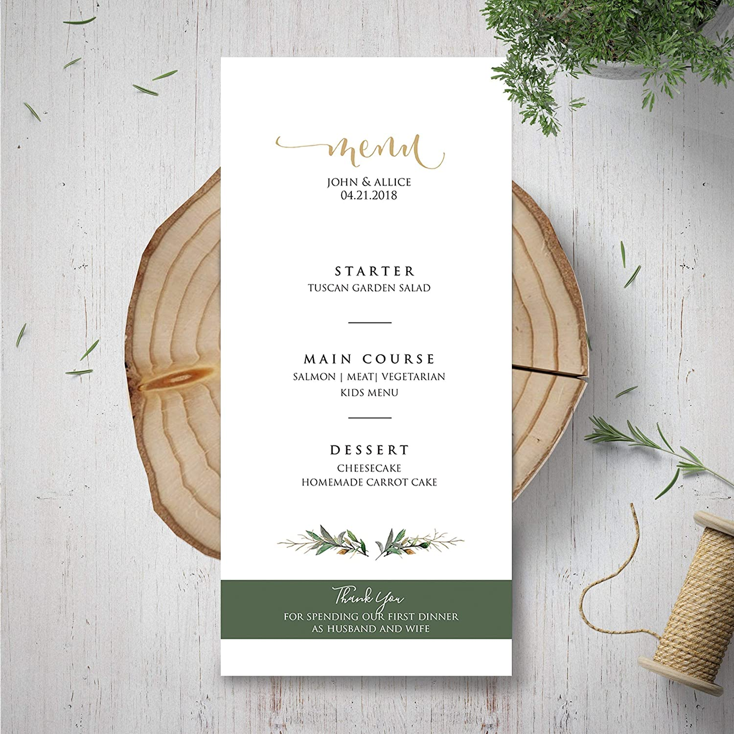 Wedding Menu Template.Amazon Com Wedding Menu Template Green Menu Card Garden Rustic