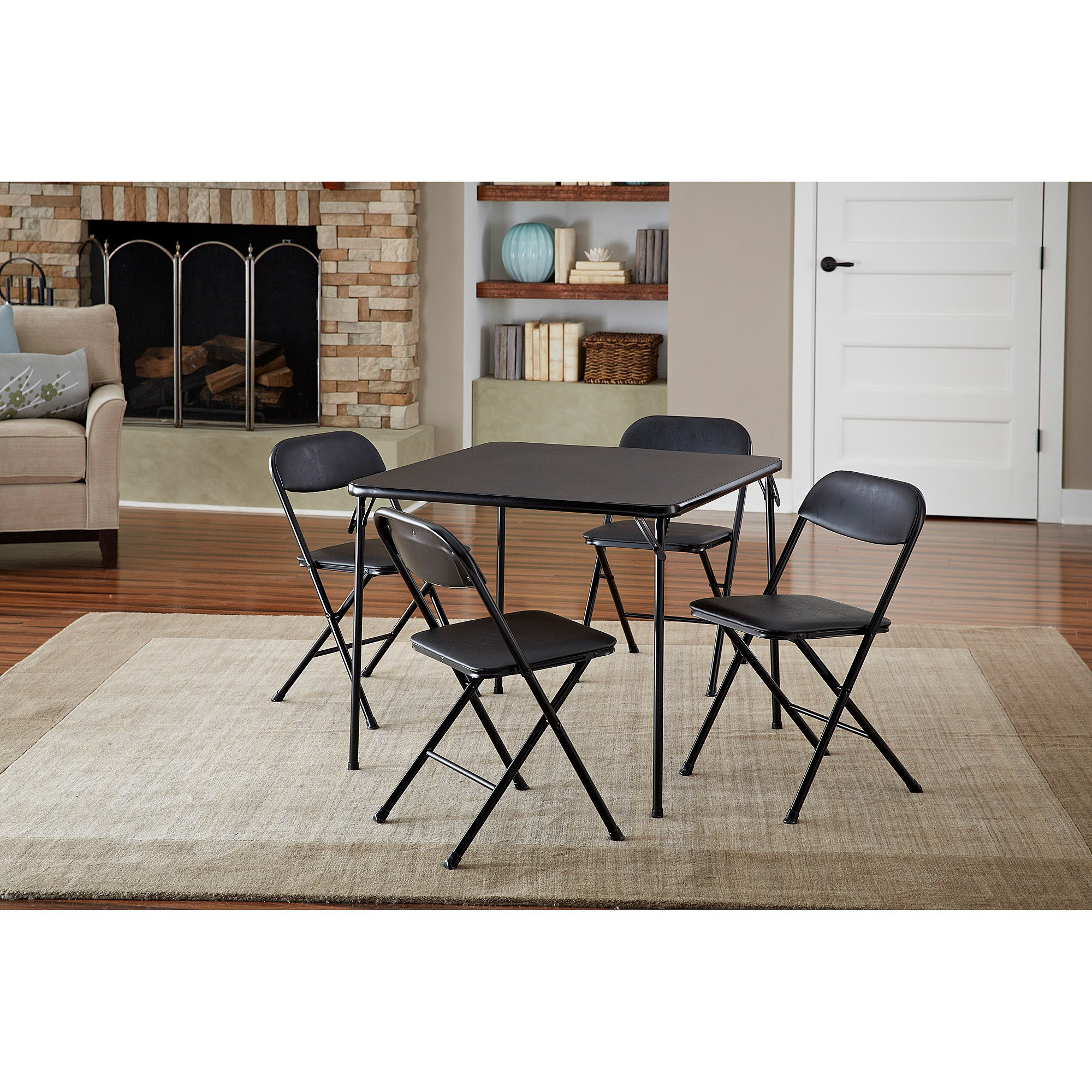 Luxury 5-Piece Card Table Set Low-Maintenance And Long-Lasting Powder-Coat Frame Finish, Black by Luxury