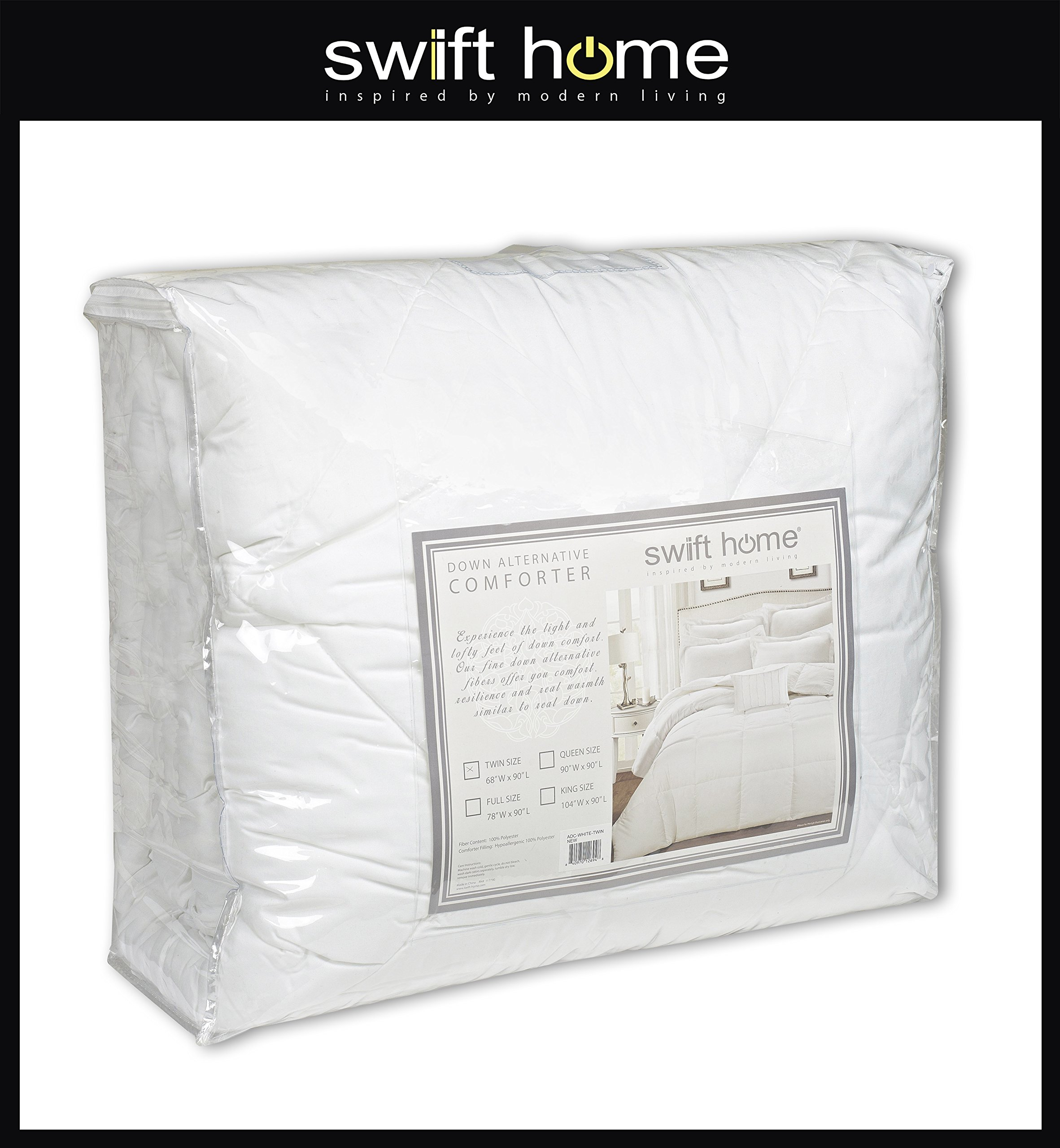 Swift Home All-Season Extra Soft Luxurious Classic Light-Warmth Goose Down-Alternative Comforter, Queen 90'' x 90'', Navy by Swift Home (Image #4)