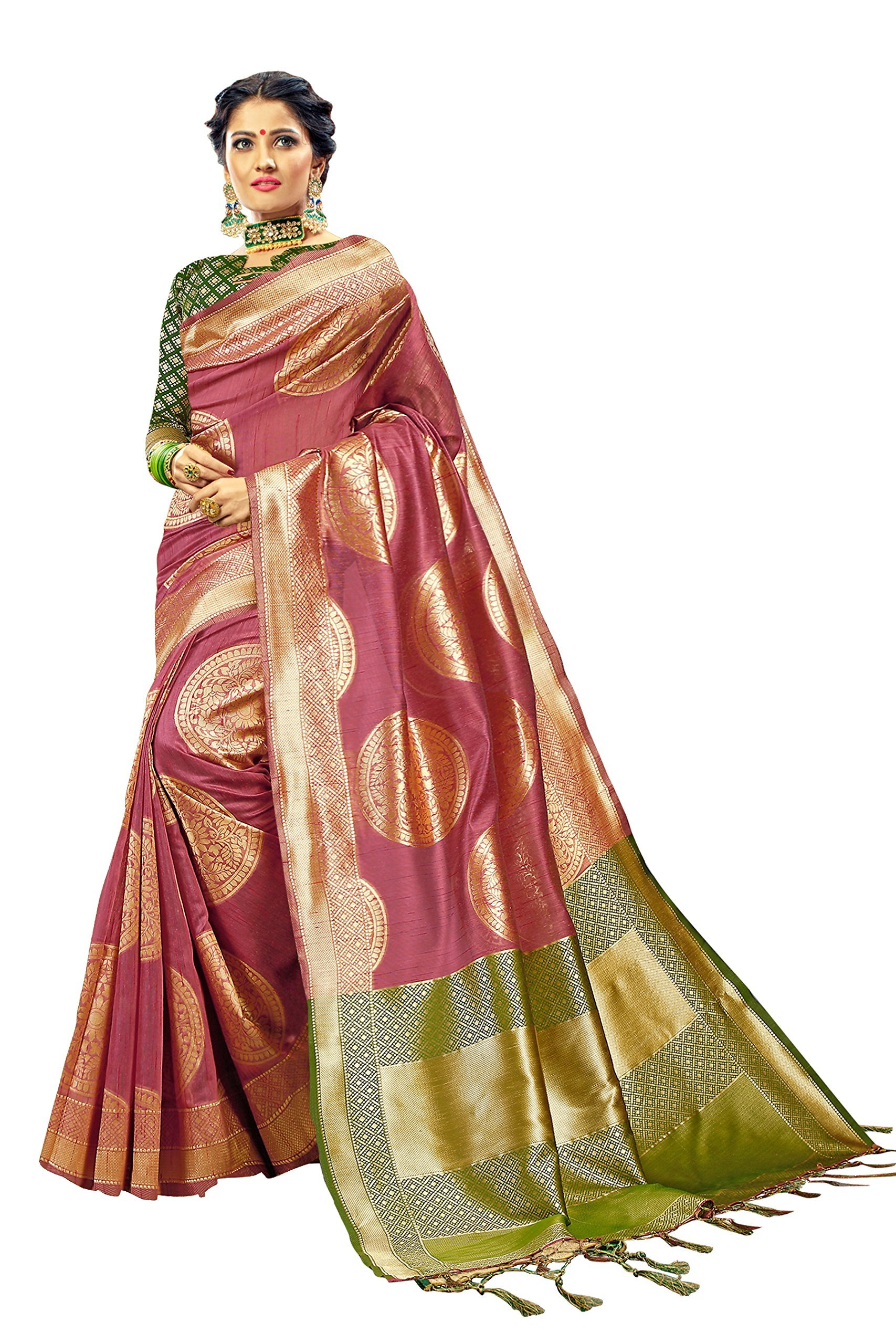 Urban India Women's Linen Silk Saree Free Pink
