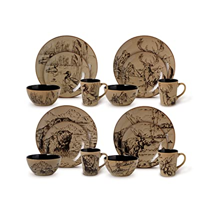 Mossy Oak 16-Piece Break-Up Infinity Dinnerware Set Service for 4  sc 1 st  Amazon.com & Amazon.com: Mossy Oak 16-Piece Break-Up Infinity Dinnerware Set ...