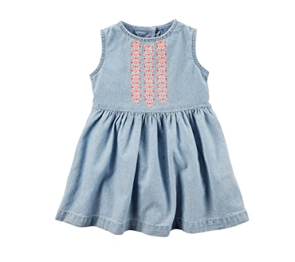 6dc62bebb Amazon.com: Carter's Baby Girls' Chambray Embroidered Dress: Clothing