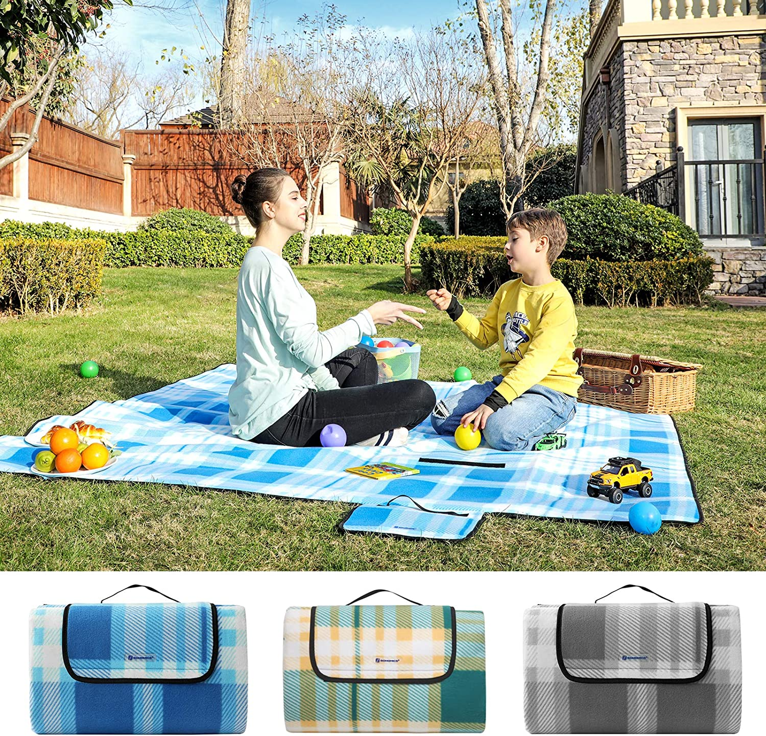 Foldable Park Yard Large Camping Mat and Rug for Outdoors 195 x 200 cm SONGMICS Picnic Blanket with Waterproof Backing Beach Blue and White GCM61UW