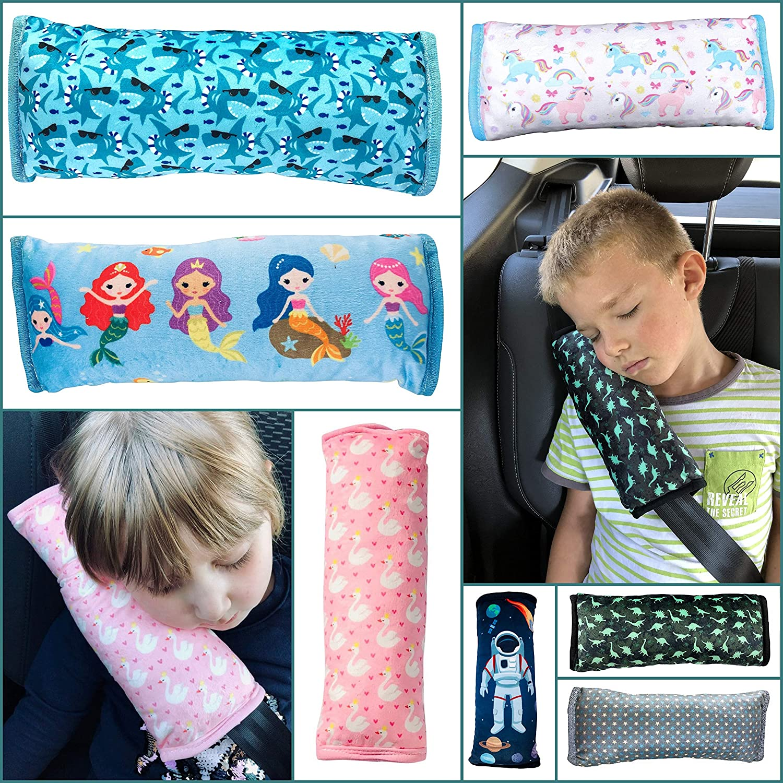 tacto de peluche suave lavable a m/áquina Almohadilla HECKBO/® para coche con dibujo de tiburones para ni/ños almohadilla de alta calidad para el cintur/ón de seguridad funda de cintur/ón