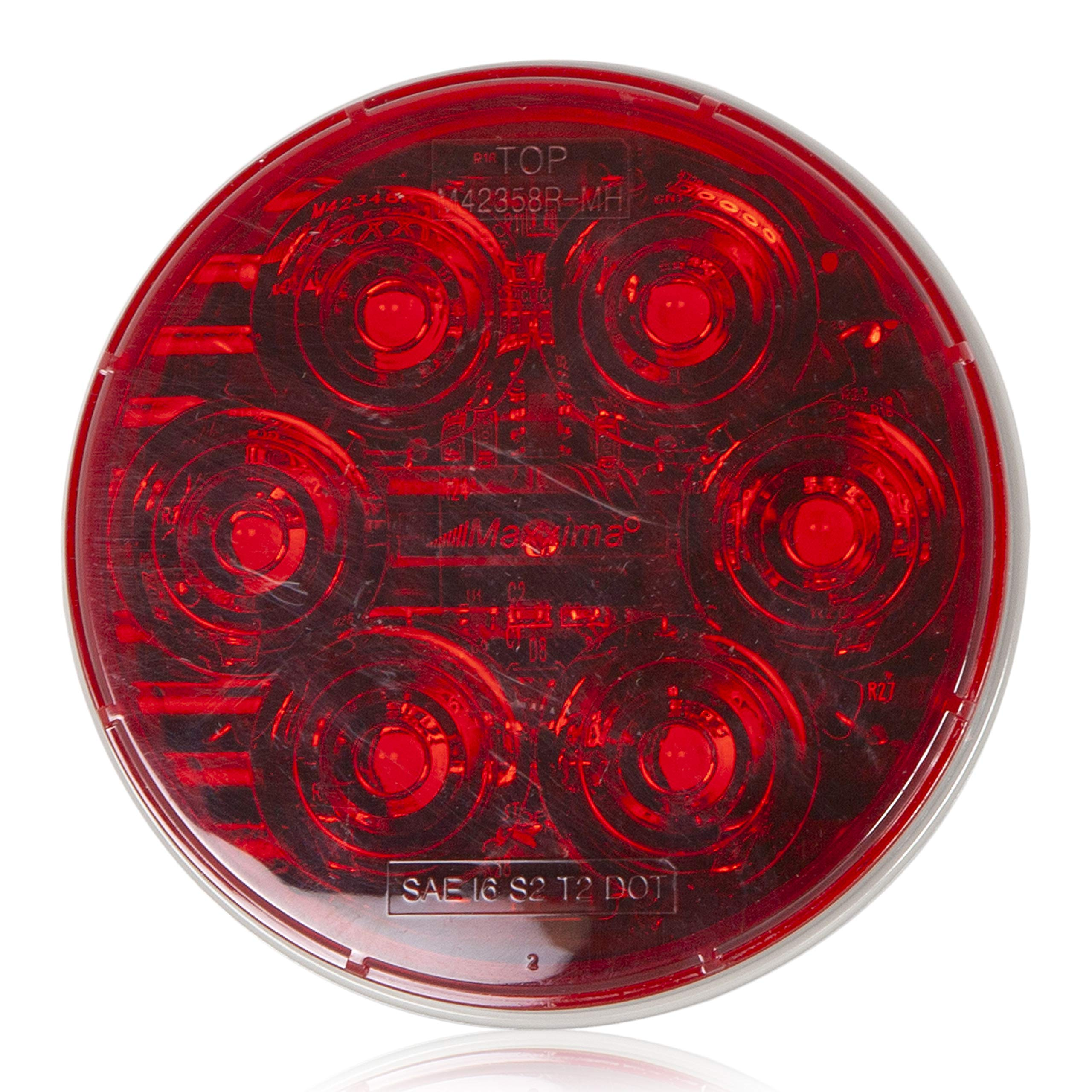 Maxxima M42358R-MH 6 LED Red 4'' Round Stop/Tail/Turn MaxxHeat Lens by Maxxima