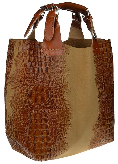 XL Beuteltasche Ledertasche Shopper Schultertasche Leder in KROKO Design Modell: Caiman (Camel) Bags4less QaqLjV