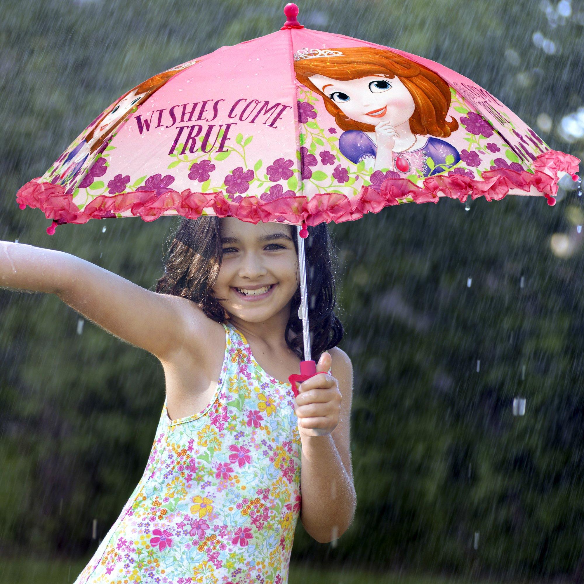 Disney Girls' Little Sofia The First Character Rainwear Umbrella, Pink, Age 3-7 by Disney (Image #3)
