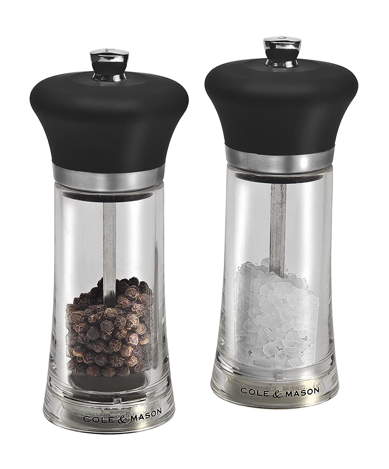 Cole & Mason H307298P Precision Huntingdon Salt and Pepper Mill Gift Set 140 mm, Transparent/Black DKB Household UK Ltd