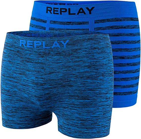 in Cotone Senza Cuciture Senza Cuciture Aderenti Replay Jeans Set di 2 Boxer da Uomo