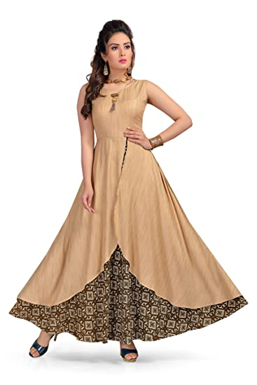 2629e4a229e Madhuram Textiles MT Womens Long Maxi Style Kurti Dress - Indian Anarkali Design  Tops for Girls (Brown Medium) at Amazon Women s Clothing store