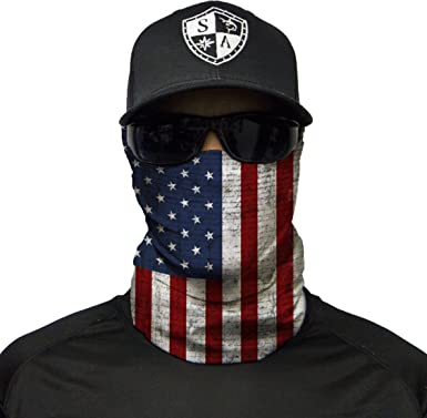 US FLAG Face MASK Sun Shield Neck Gaiter Headband Bandana Du Rag Skull Cap SPF40